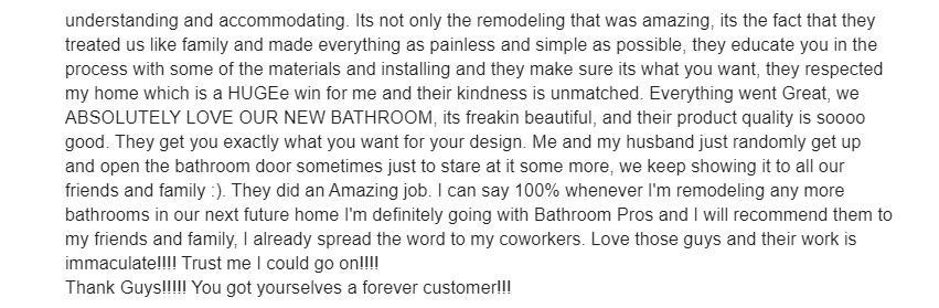 Bathroom Remodeling Review 2 -Tinton Falls NJ