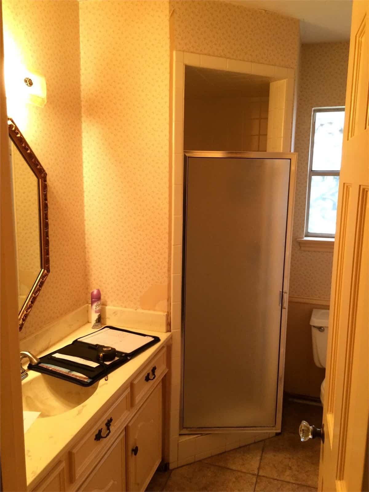 Corner Shower Remodeling (before) New Jersey Bathroom Pros