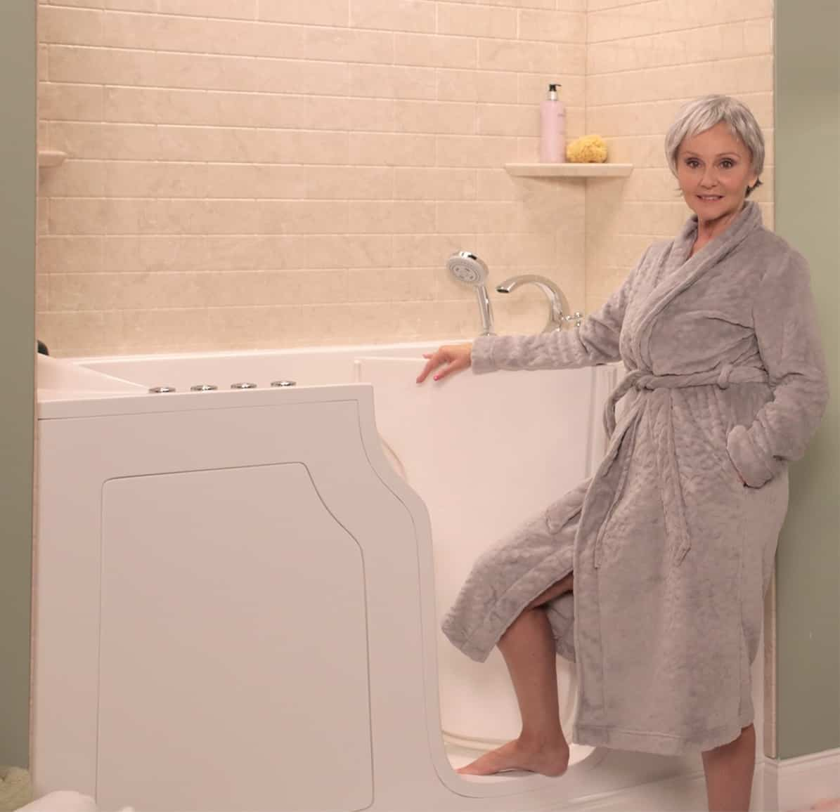 woman posing with new walk in tub